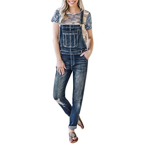Women Casual Denim Bib Pants Hole Overalls Jeans Straps Demin Trousers Rompers