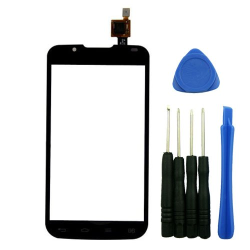 PhonePlus® Black Outer Front Touch Screen Digitizer Glass Panel Replacement for LG Optimus L7 2 II Dual P715 with Tools