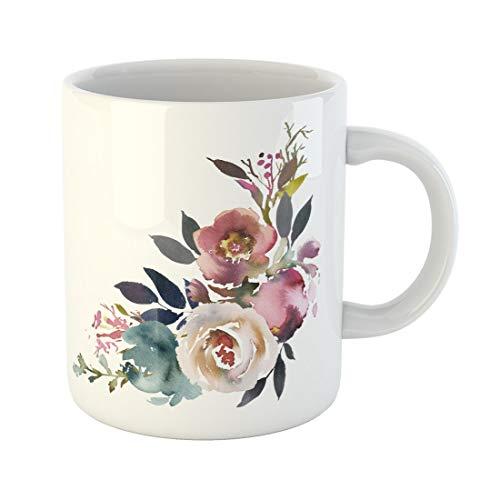 Semtomn Funny Coffee Mug Dusk Blue Pale Pink Gray White Watercolor Floral Corner 11 Oz Ceramic Coffee Mugs Tea Cup Best Gift Or Souvenir