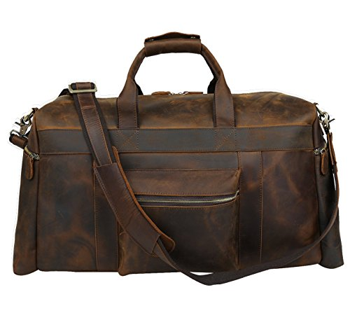 Polare 23'' Duffle Retro Thick Cowhide Leather Weekender Travel Duffel luggage Bag by Polare