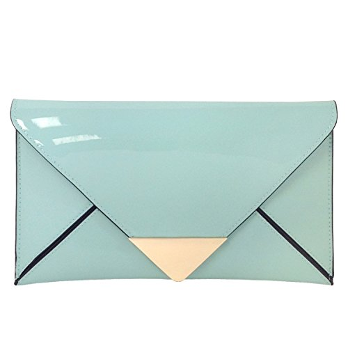 JNB Faux Patent Leather Glossy Envlope - Patent Green Faux Leather