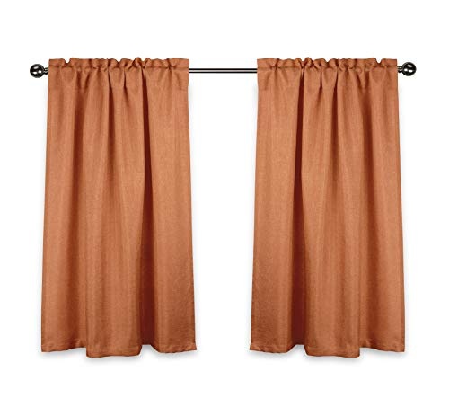 """Aiking Home Rod Pocket Faux Linen Textured Semi-Sheer 36 inch Cafe Curtains/Tier Panels for Small Window (Set of 2, 28""""x36"""" Each Panel, Mandarin)"""