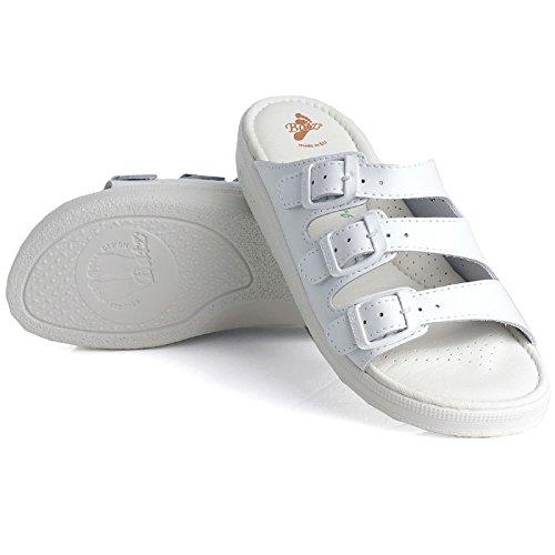 Batz 3BCS Hochwertigem Komfortschuhe, Lederschuhe, Pantolette, Sandalette, Damen Weiß