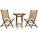 Antique Wooden Folding Lawn Chairs Heather Ann Creations The Kauai Collection Contemporary Style Bamboo Wooden 3-Piece Table and Chairs Outdoor Patio Bistro Dining Set, Brown