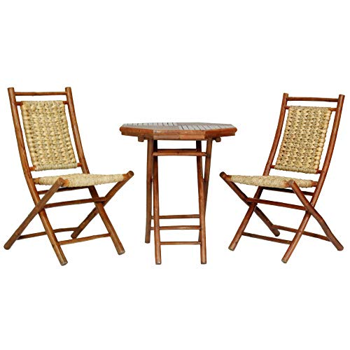 Heather Ann Creations The Kauai Collection Contemporary Style Bamboo Wooden 3-Piece Table and Chairs Outdoor Patio Bistro Dining Set, Brown -