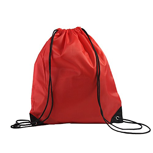 LIHI Bag 10 Pack Ripstop Drawstring Backpack,Party Favors Treat Bags,Red