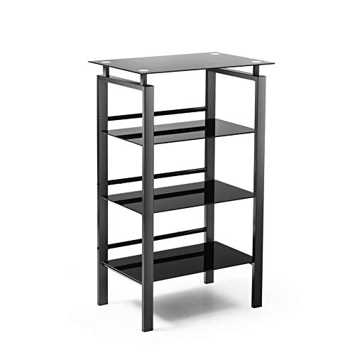 - Superday 4-Tier Bookshelf, Standing Shelf Space Saving Multipurpose Storage Shelf Bookcase Side Table with Safety-Tempered Glass, High-Intensity Steel Frame (Black)