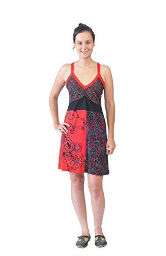Señoras vestido de la correa de colores con bordados y Patch Diseño-LALIGURANS�?Rojo