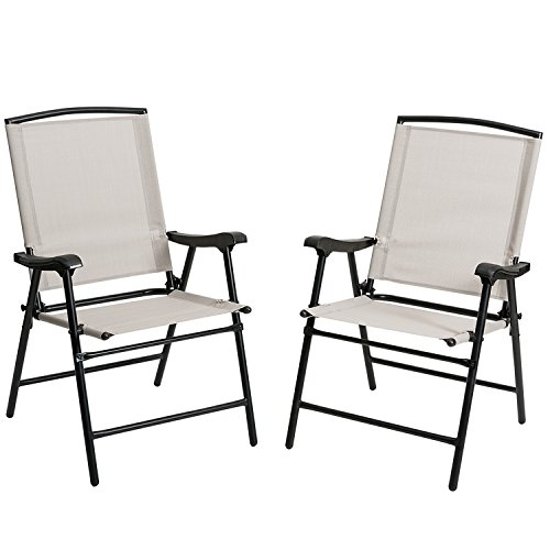 Marble Field Foldable Fabric Outdoor/ Indoor Sling Chair, Portable Patio Balcony Leisure Dining Large Chair, Set of 2, Beige (Plastic Patio Arm Chair)