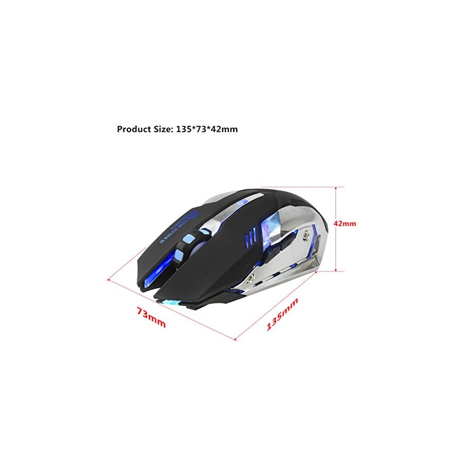 SCASTOE Wireless 2400DPI 6 Buttons Mice Gaming Mouse with 2.4G Rechargeable Battery for Pro Gamer Black