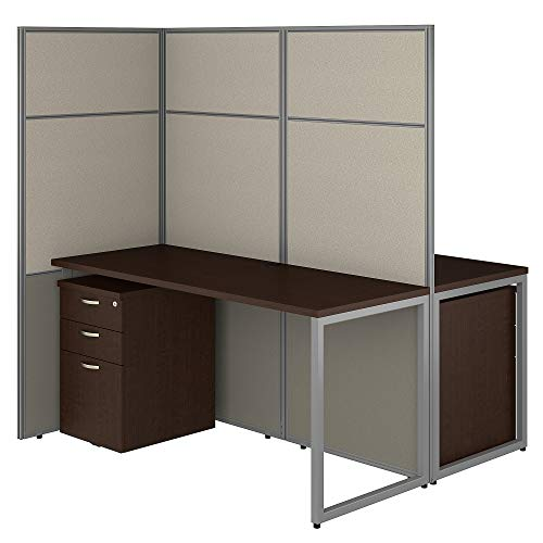 (Bush Business Furniture EODH46SMR-03K Easy Office 2 Person Cubicle Desk with File Cabinets and 66H Panels, 60Wx60H, Mocha)
