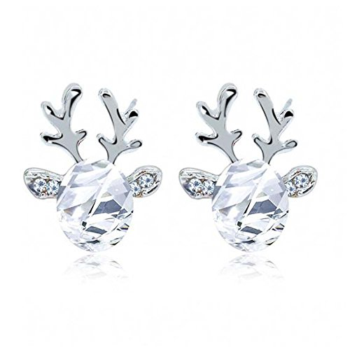 Sleazy Santa Costume (Elakaka Women's Crystal Stones Antlers Earrings Luxury Christmas Reindeer Earrings(Silver))
