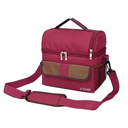 Lunch Box Insulated Lunch Bag Large Cooler Tote Bag for Adults / Men / Women / Kids Double Deck Cooler (Double Trouble Tote)