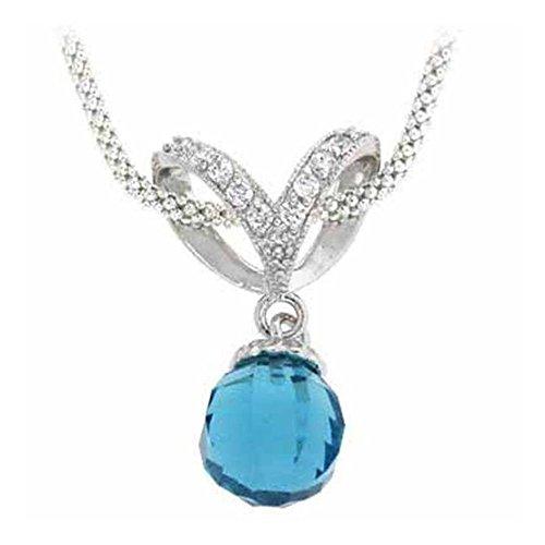 Glitzs Jewels Sterling Silver Briolette Aquamarine Cubic Zirconia Ball Drop Pendant, 18''