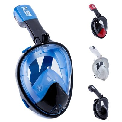 Full Face Snorkel Mask   Gopro Compatible  With Anti Fog And Anti Leak Technology  180  Panoramic View  See More With A Larger Viewing Area   Blue Black  Large Extra Large