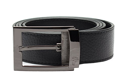 Versace Collection Men's Adjustable Stainless Steel Medusa Buckle Pebbled Leather Belt - Medusa Versace Bag