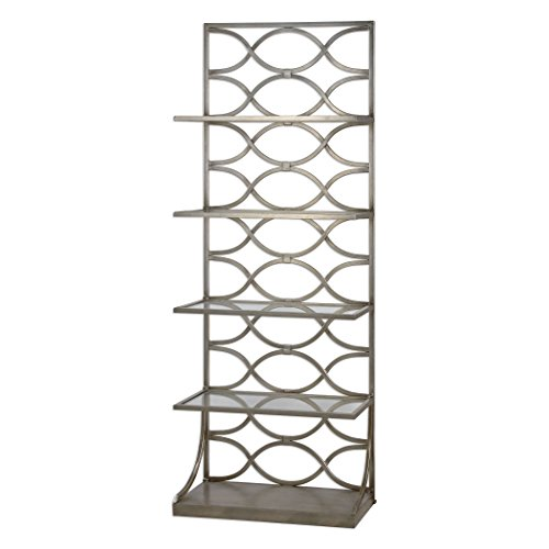 My Swanky Home Open Silver Fretwork Etagere Shelves | Free Standing Iron Metal