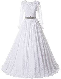 5a0fda27359 Women s Ball Gown Lace Princess Wedding Dress 2017 Sash Beaded Bridal  Evening Gown