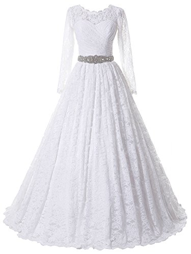 SOLOVEDRESS Women's Ball Gown Lace Princess Long Sleeves Wedding Dress Sash Beaded Bridal Gown (US 20 Plus,White) by SOLOVEDRESS
