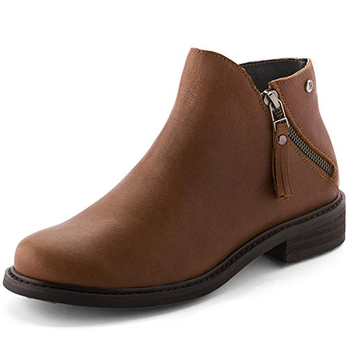 (Parfeying Ankle Boots, Waterproof Booties, Non-Slip Rubber Sole, Casual Shoes, Pig Leather Lining (L10130, Saddle Brown, US 5))