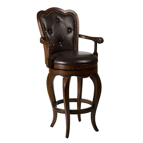 (Dining Room Swivel Bar Stool, Dark Cherry Finish, Solid Hardwood with Padded Seat, Contoured Vinyl Back, 360-Degree Swivel, 2 Sturdy Arms, Elegantly Arched Legs, Chic and Comfortable + Expert Guide)