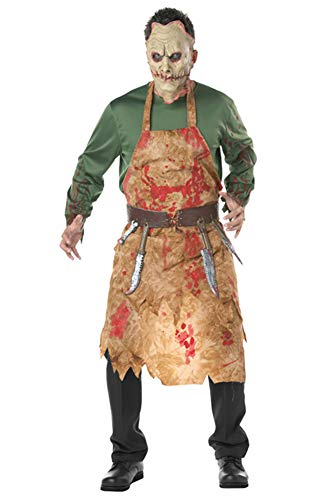 "CbMoun Halloween Costumes Men Plus Size Party Zombie Scary Butcher 4 IN1 Killer Zombie Fits 5""5–6'1 Below 220lbs"