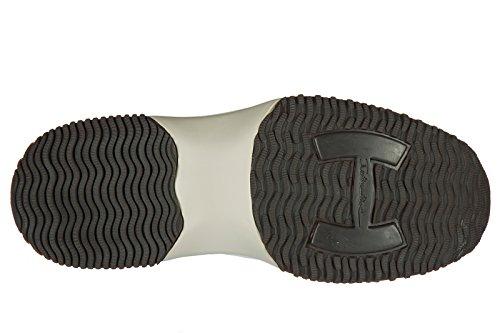 Hogan Uomo Scarpe Sneakers In Pelle Da Ginnastica New Interactive H Flock Beige