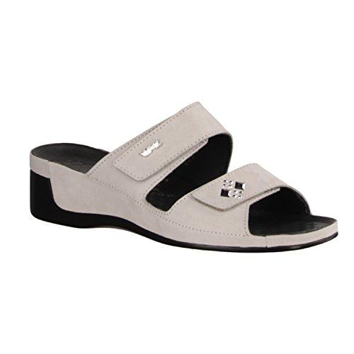 Vital 0805-03950 - Chaussures femme Mule / Tongs, Gris, cuir nubuck, hauteur talon: 40 mm