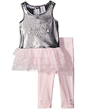 Baby Girls' Stretch Poly with Mesh Piecings Tunic and Leggings
