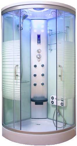 oimexgmbh Ariel Blanco LED Cabina de ducha 90 x 90 cm ducha completo con función de masaje grifos Cristal de Seguridad (Vidrio templado) ducha: Amazon.es: Bricolaje y herramientas