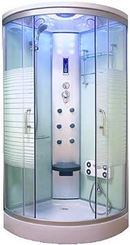 oimexgmbh Ariel Blanco LED Cabina de ducha 90 x 90 cm ducha ...