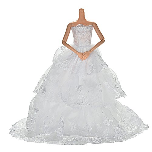 1X white Princess Rapunzel Party Dress Costume Wedding Gown Dress For Cinderella Snow White Dolls (Cinderella Wedding Dress Costume)