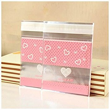 1010 Lace (SODIAL(R) 100 PCS Lovely Cute Bowknot OPP Self Adhesive Cookie Bakery Candy Biscuit Roasting Treat Gift DIY Plastic Bag (Heart + Lace Design)1010cm)