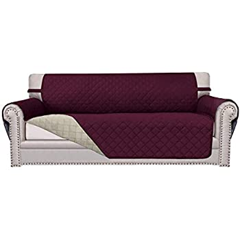 Easy-Going Sofa Slipcover Reversible Sofa Cover Furniture Protector Anti-Slip Foams Couch Shield Water Resistant Elastic Straps Pets Kids Children Dog Cat (Oversized Sofa, Wine/Beige)