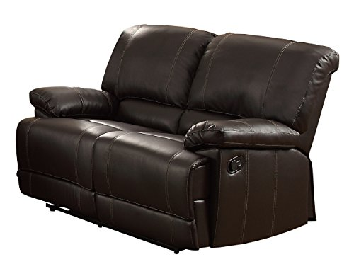Homelegance Plush Seating Faux Leather Brown Double Reclining Loveseat