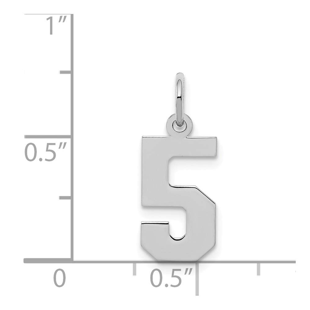 Number 5 Pendant Digit Five Charm Small Sterling Silver