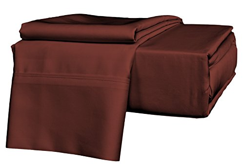 Brielle 630 Thread Count Egyptian Cotton Sateen Premium 600 Plus Sheet Set, Queen, Brick Red