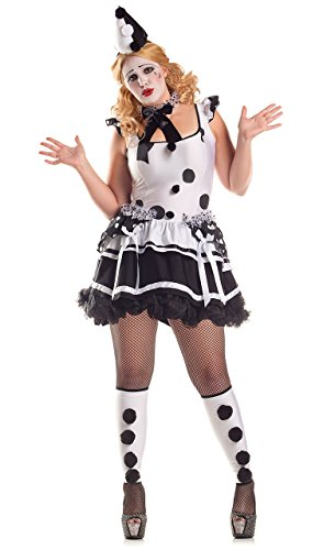 Party King Women's Plus Size Pierrot Sad Clown Costume, White/Black, 3X ()