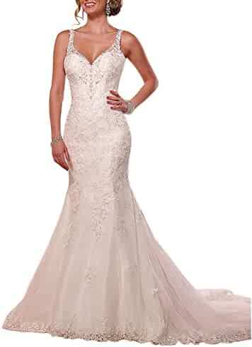 1f46d08570a Dressylady Spaghetti Staps Beaded Lace Appliques V Neck Backless Mermaid  Wedding Dress