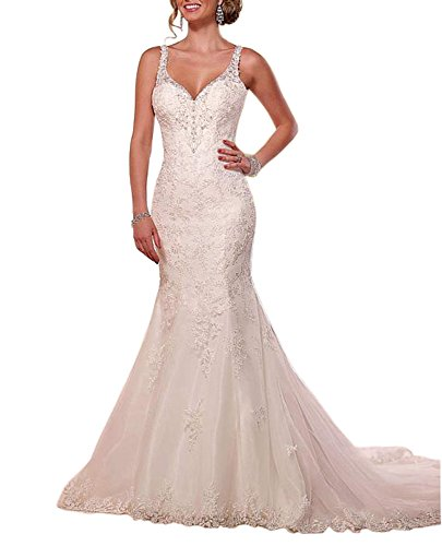 Neck Staps Spaghetti Beaded Backless Appliques White Mermaid Wedding Lace Dressylady V Dress Cfawqgg
