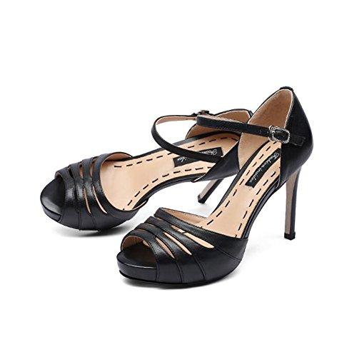 0da99612 YXINY Zapatos de tacón Sandalias Tacones Mujeres Boca De Pescado Plataforma  Impermeable 10cm Blanco / Negro
