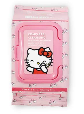 The Crème Shop Korean Cute Gentle and Fresh Advanced Scented Make Up Removal The Crème Shop x Sanrio 20 Pre Wet Towelettes (Hello Kitty) (Kitty Macaron Hello)