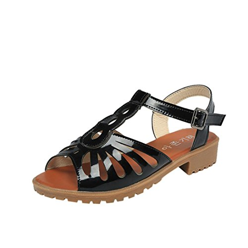 Jamicy Women Fashion Cutouts Sandals Open Toe Low Wedges Hollow Summer Shoes Black rX6N7lUBQ