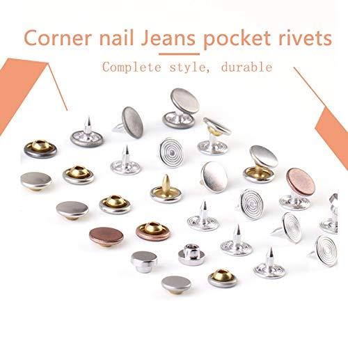 Kamas Jeans Pocket Rivets Corner Nail Silver Copper Gun Black 7mm 9mm 9.5mm 13 PCS colthes Accessories Factory Direct Sales Support - (Color: No.7 Ancient Silver)