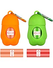 SUSSURRO 2 Pack Dog Poop Bags Dispenser with 2 Rolls Portable Pet Waste Bags with 2 Hooks Leash Doggy Bag Holder Hand Free Doggie Bag Dispenser Waste Picker
