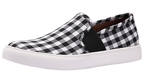 Sofree Women's Fashion Sneaker Casual Slip-on Loafers Shoes (9, Black-White Plaid) - Classic Plaid Sneakers