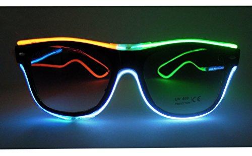 El Wire Multi-color Glasses Light Up Clear Wayfarer Led Rainbow Glasses for Festival Rave Party - El Wire Sunglasses