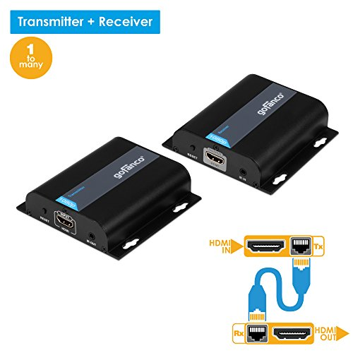gofanco HDMI Extender 395Ft over TCP/IP Network 1 TO MANY or Cat5e/Cat6/Cat7 Ethernet Cable with Remote IR Control - Up to 395 Feet (120m) Full HD 1080p (TX&RX Kit, Part# HDBitTEXT) by gofanco