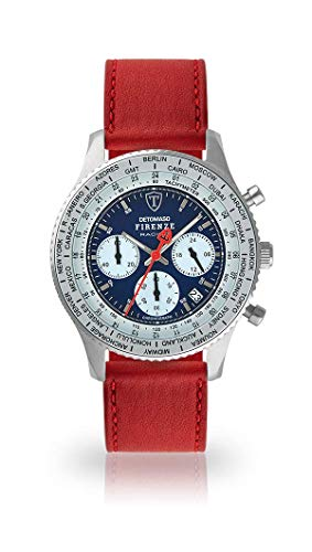 DETOMASO Firenze Racing Mens Watch Chronograph Analogue Quartz Dark red Leather Strap Blue dial DT1069-A-824