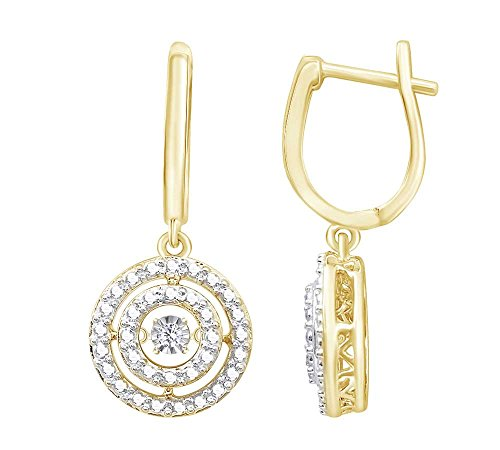 (0.05 cttw) Round Cut White Natural Dancing Diamond Circle Drop Earrings In 14k Yellow Gold Over Sterling ()